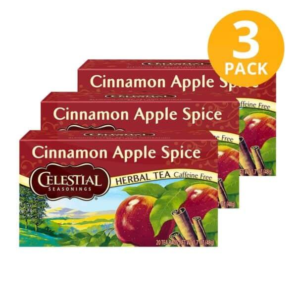 Celestial Seasonings, Cinnamon Apple Spice Herbal Tea, 60 Sobres (Pack de 3 x 20)