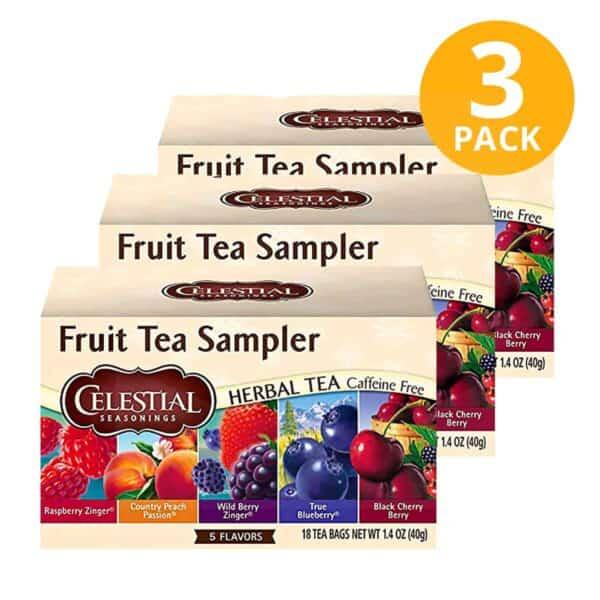 Celestial Seasonings, Fruit Tea Sampler Herbal Tea, 60 Sobres (Pack de 3 x 20)
