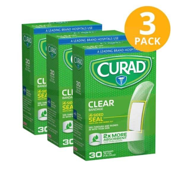 Curad Curitas, Clear (Transparentes) 90 Unidades (Pack de 3 x 30)