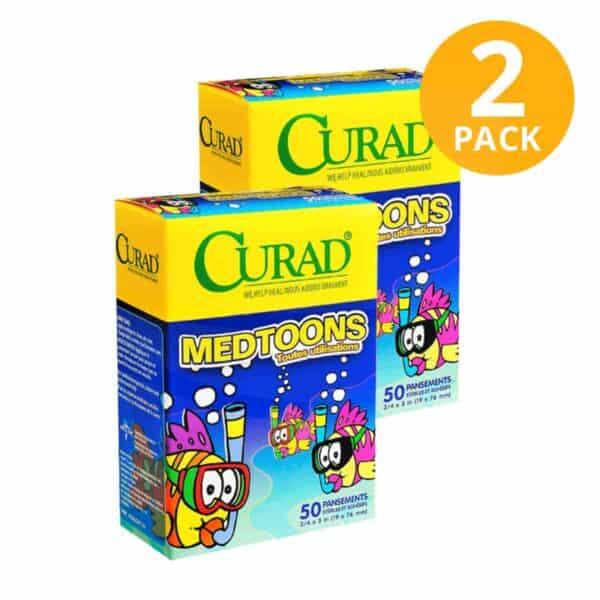 Curad Curitas Infantiles, Medtoons, 100 Unidades (Pack de 2 x 50)
