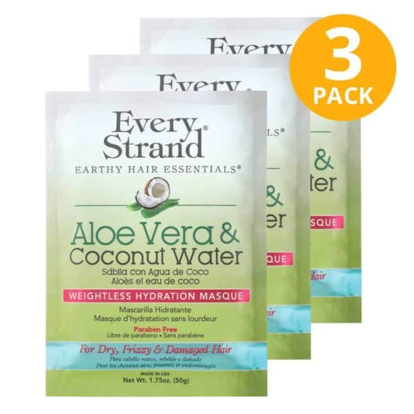 Every Strand, Weightless Hydration Masque, Aloe Vera & Coconut Water, 1.75 OZ (Pack de 3)