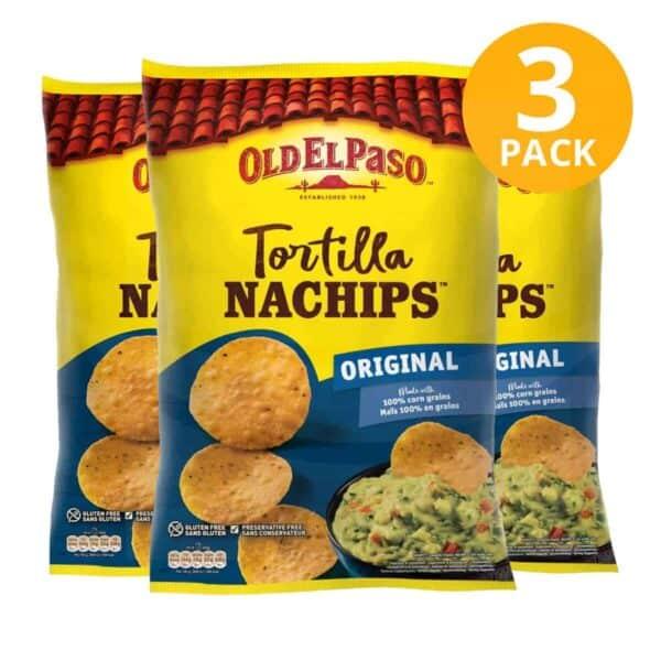 Old El Paso, Tortilla Nachips Original, 185 gr (Pack de 3)
