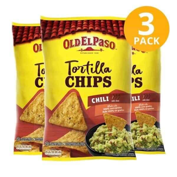 Old El Paso, Tortilla Chips Chili, 185 gr (Pack de 3)