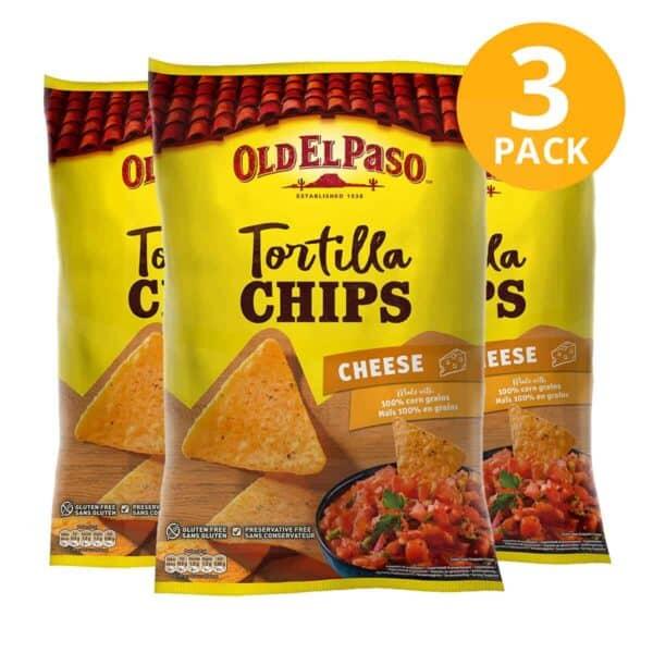 Old El Paso, Tortilla Chips Cheese, 185 gr (Pack de 3)