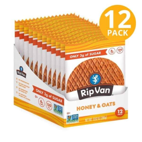 Rip Van Wafels, Honey & Oats, Low Sugar, 1.16 OZ (Pack de 12)