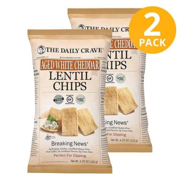 The Daily Crave, White Cheddar Lentil Chips, 4.25 OZ (Pack de 2)