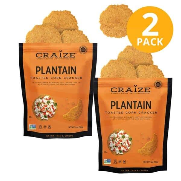 Craize Toasted Corn Cracker, Plantain, 4 OZ (Pack de 2)