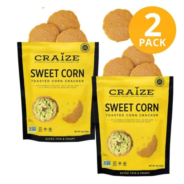 Craize Toasted Corn Cracker, Sweet Corn, 4 OZ (Pack de 2)