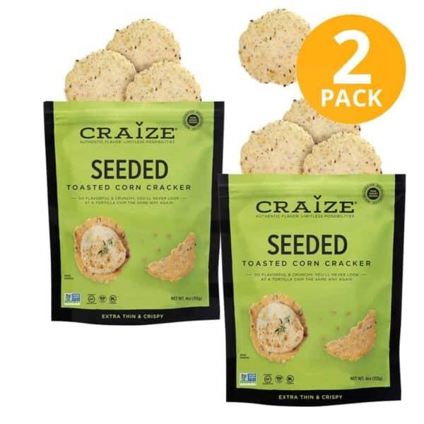 Craize Toasted Corn Cracker, Seeded, 4 OZ (Pack de 2)