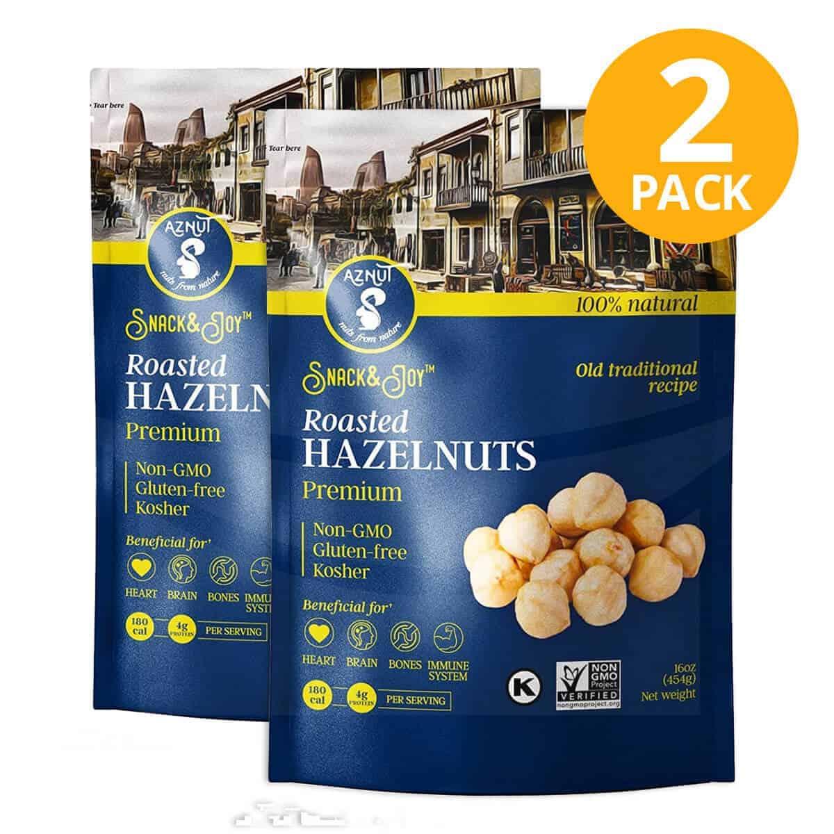 Avellanas Tostadas, Aznut Premium Roasted Hazelnuts Unsalted, 6 OZ (Pack de 2)