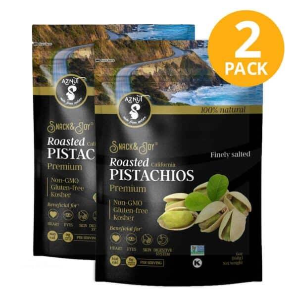 Pistachos de California Tostados, Aznut Roasted Salted California Pistachio, 6 OZ (Pack de 2)