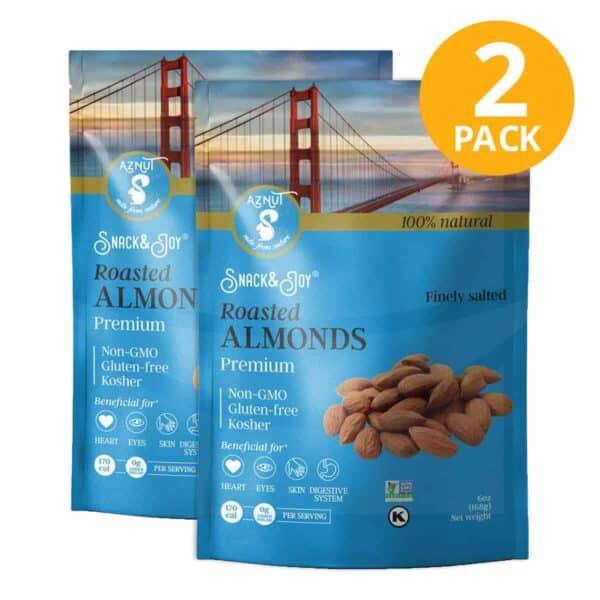 Almedras Tostadas, Aznut Premium Roasted Almonds, 6 OZ (Pack de 2)