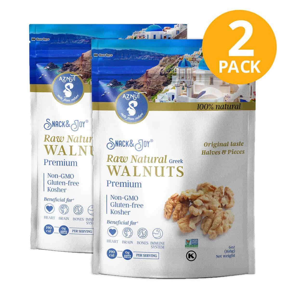 Walnuts Naturales, Aznut Raw Walnuts, 6 OZ (Pack de 2)