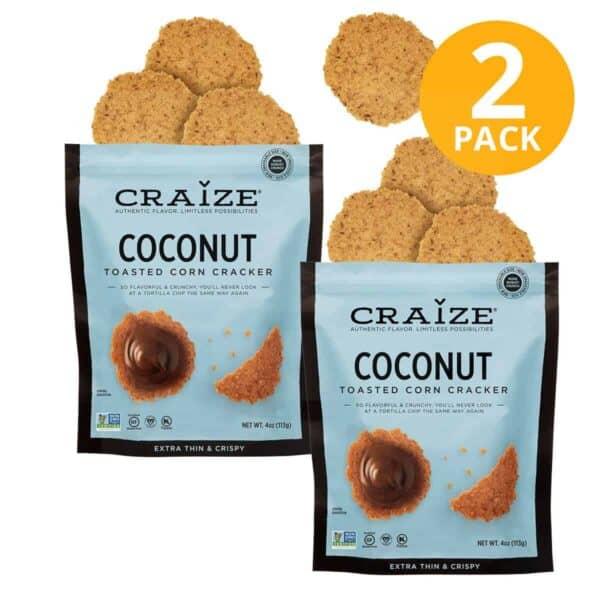 Craize Toasted Corn Cracker, Coconut, 4 OZ (Pack de 2)