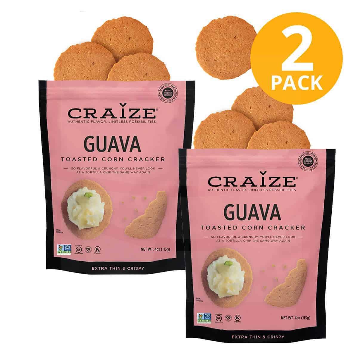 Craize Toasted Corn Cracker, Guava, 4 OZ (Pack de 2)