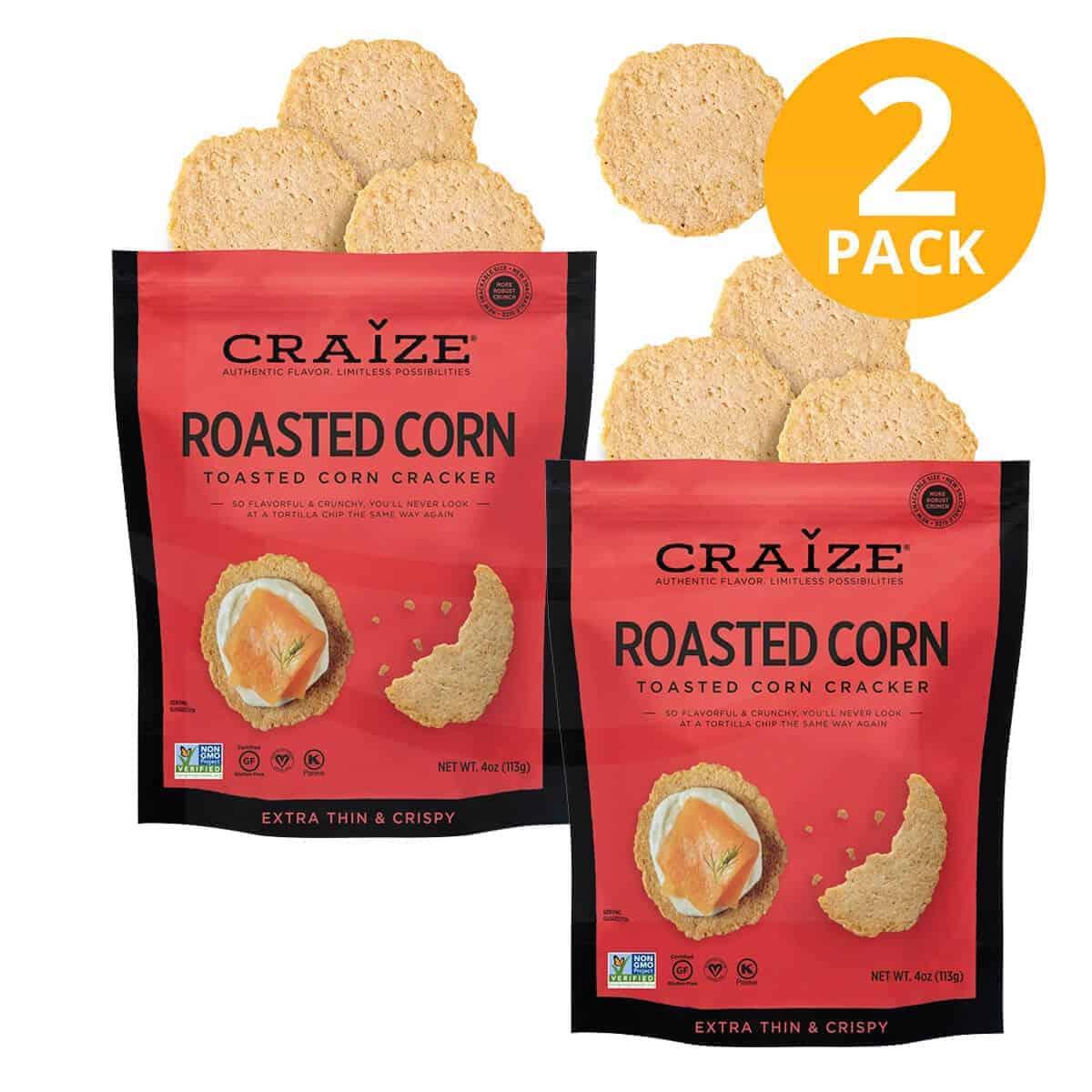 Craize Toasted Corn Cracker, Roasted Corn, 4 OZ (Pack de 2)