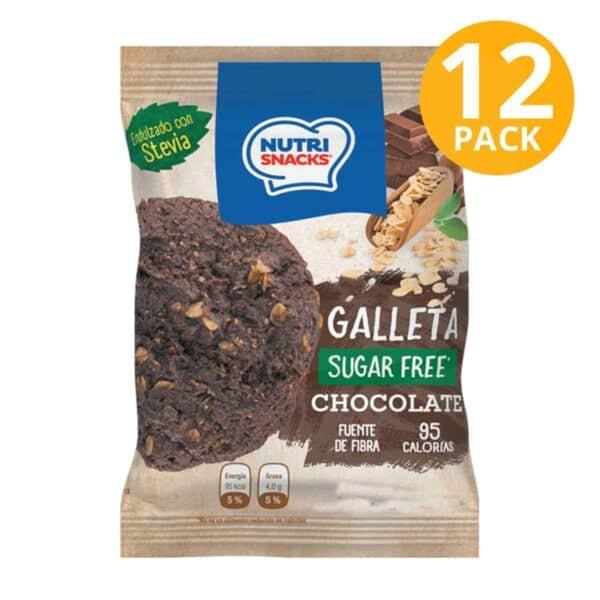 Nutrisnacks Sugar Free, Galleta Chocolate, 48 gr (Pack de 12)