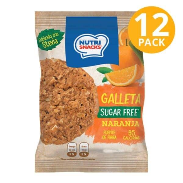 Nutrisnacks Sugar Free, Galleta Naranja, 48 gr (Pack de 12)