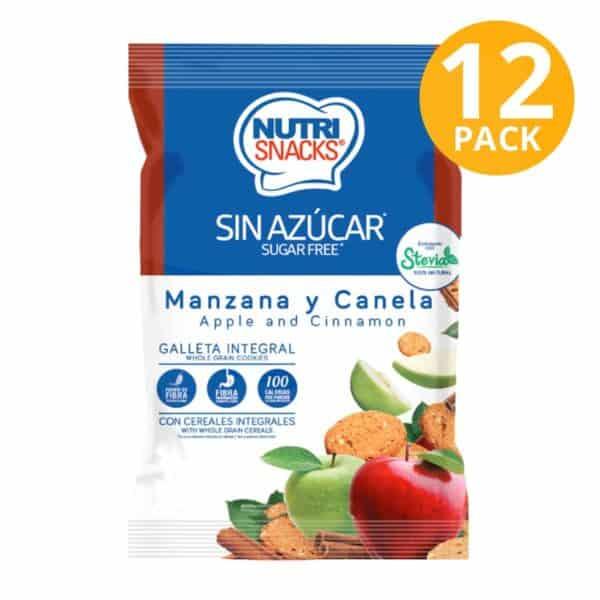 Nutrisnacks Sugar Free, Galleta Manzana y Canela, 48 gr (Pack de 12)