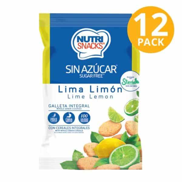 Nutrisnacks Sugar Free, Galleta Lima Limón, 48 gr (Pack de 12)