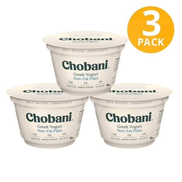 Chobani Non-Fat Plain, Greek Yogurt, 5.3 OZ (Pack de 3)