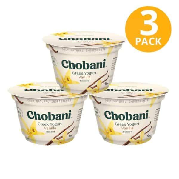 Chobani Vanilla, Greek Yogurt Blended Non-Fat, 5.3 OZ (Pack de 3)
