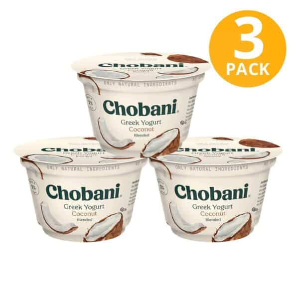 Chobani Coconut Blended, Greek Yogurt, 5.3 OZ (Pack de 3)