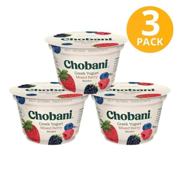 Chobani Mixed Berry Blended, Greek Yogurt, 5.3 OZ (Pack de 3)