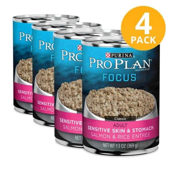 Purina Pro Plan Select Sensitive Skin & Stomach, Salmon & Rice,13 OZ (Pack de 4)