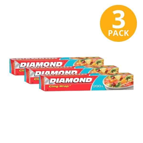 Diamond Plástico Adherente Cling Wrap, 200 ft (Pack de 3)