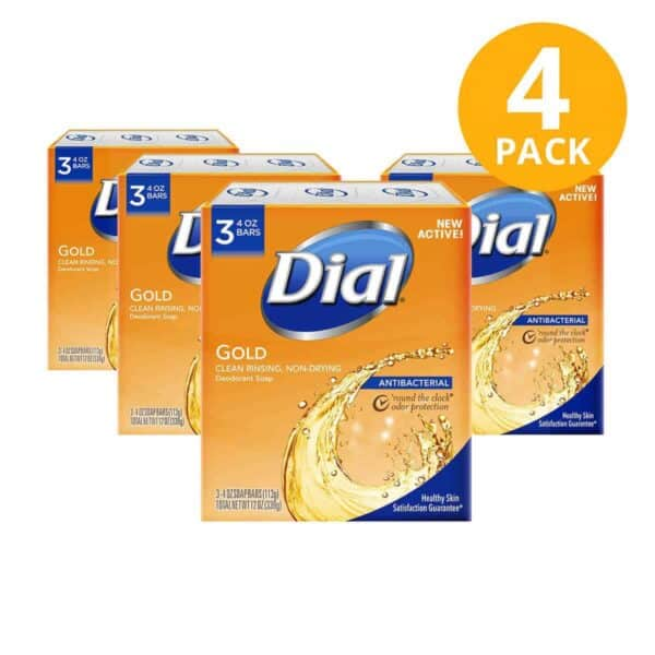Dial Antibacterial Gold, 20 Jabón en Barra, 4 OZ (Pack de 4 x 3)