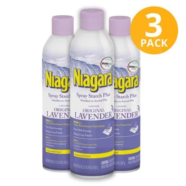 Niagara Spray Starch Plus Lavender, Almidón en Aerosol, 20 OZ (Pack de 3)