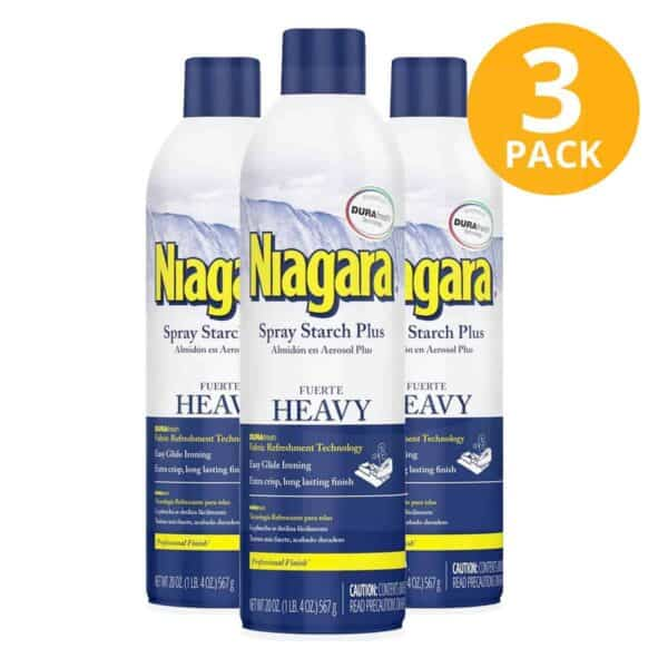Niagara Heavy Spray Starch Plus Lavender, Almidón en Aerosol Fuerte, 20 OZ (Pack de 3)