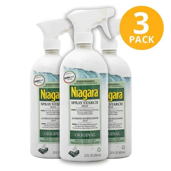 Niagara Spray Starch Plus Original, Almidón en Rociador, 22 OZ (Pack de 3)