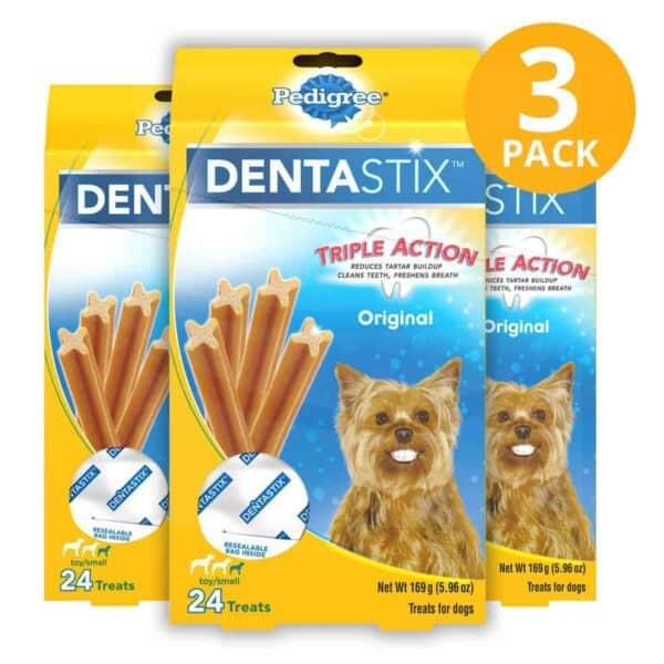 Pedigree Dentastix Dog Dental Treats Triple Action Original, toy/small 5.96 OZ (Pack de 3)