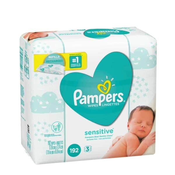 Pampers Sensitive Unscented, 192 Wipes (3x Refills)