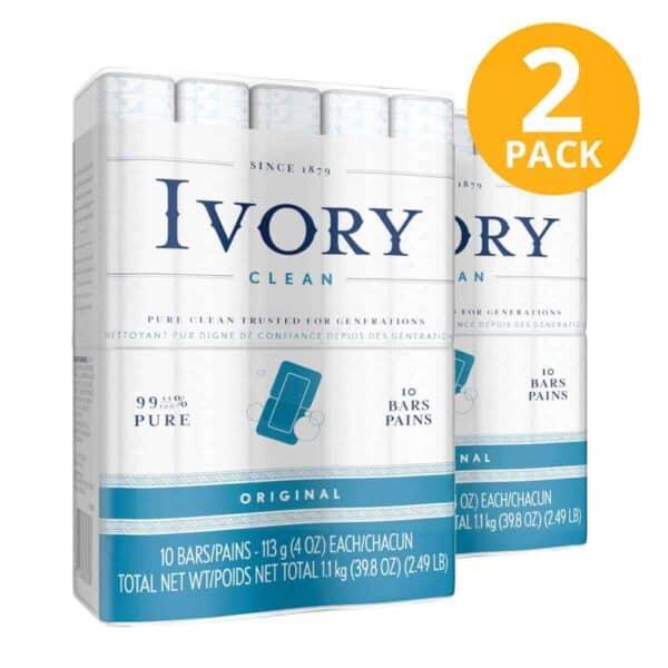 Ivory Clean Original Bar Soap, 20 Jabon en Barra (Pack de 2 x 10)