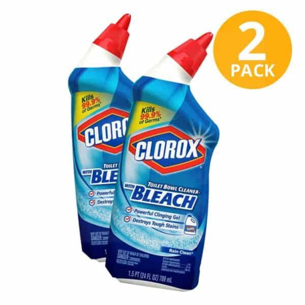 Clorox Toilet Bowl Cleaner With Bleach, Rain Clean, 24 OZ (Pack de 2)