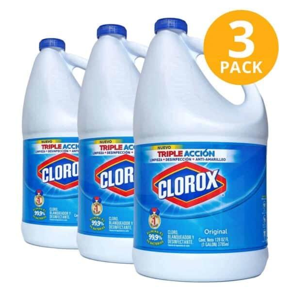 Clorox Blanqueador Original, Cloro, 1 Galón (Pack de 3)