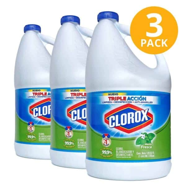 Clorox Blanqueador Menta Fresca, Cloro, 1 Galón (Pack de 3)