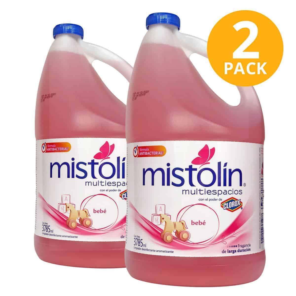 Mistolín Multiespacios Bebé, Limpiador Desinfectante, 1 Galón (Pack de 2)