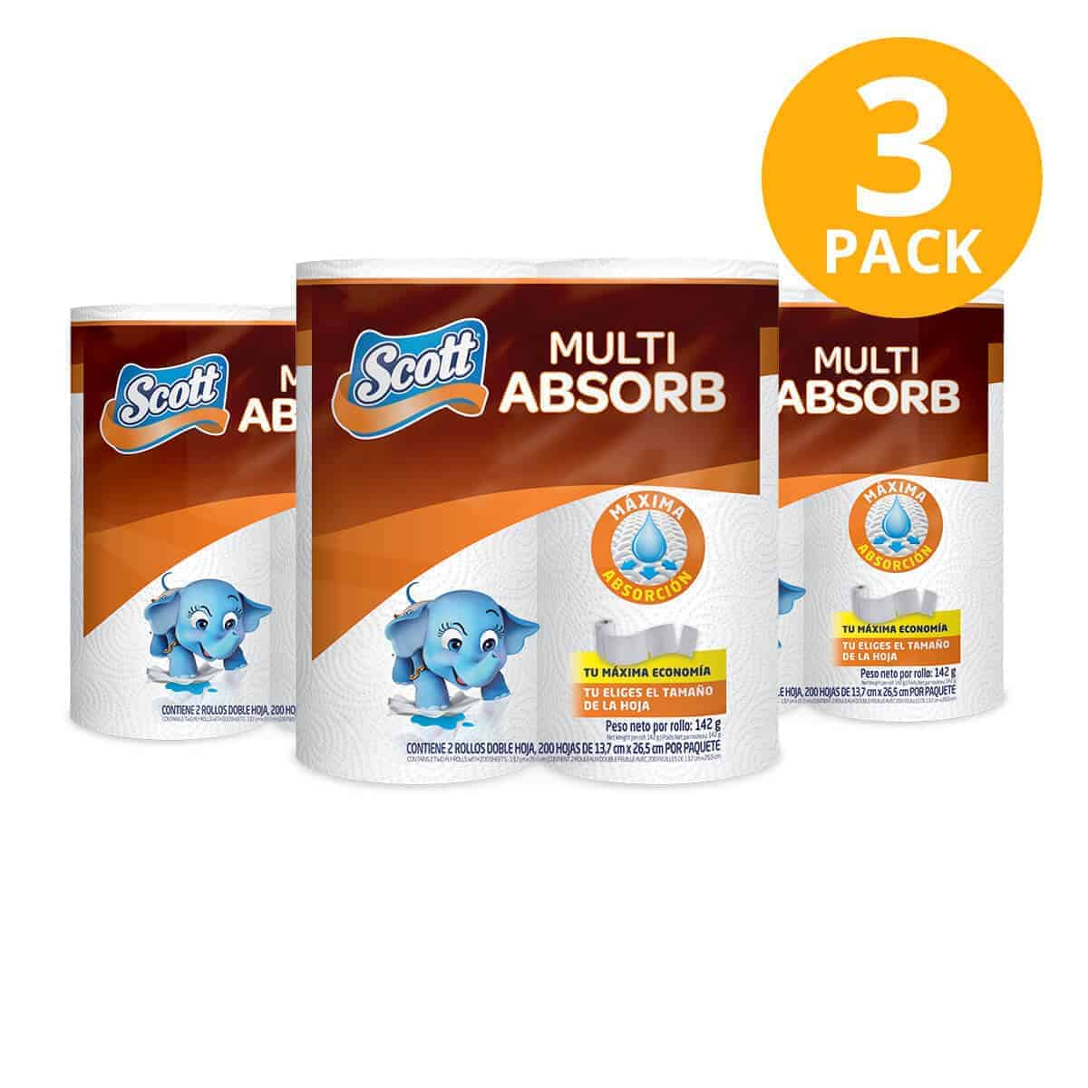 Scott Multi Absorb, Rollos Papel Toalla (Pack de 3 x 2)