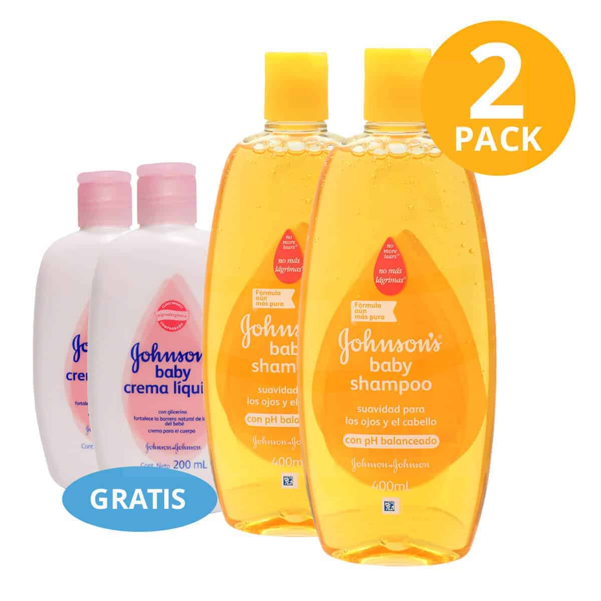 Shampoo Original Johnson's Baby, 400 ml (Pack de 2) + Crema Líquida Gratis