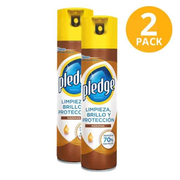 Pledge Spray Maderas, Anti-Polvo Brillo y Protección, 476 ml (Pack de 2)