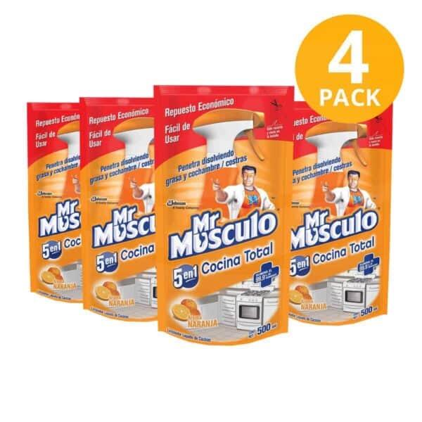 Mr Músculo 5 en 1 Cocina Total Antigrasa, Naranja, Refill 500 ml (Pack de 4)