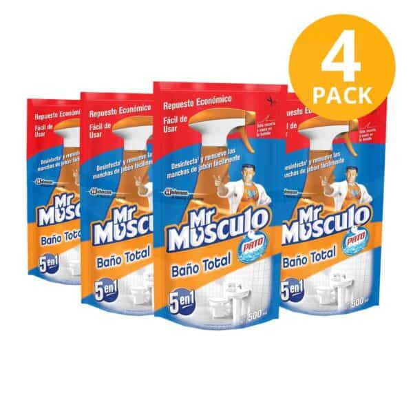Mr Músculo Baño Total 5 en 1 Pato, Limpiador Desinfectante, Refill 500 ml (Pack de 4)