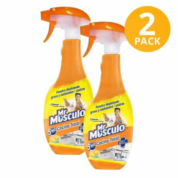 Mr Músculo 5 en 1 Cocina Total Antigrasa, Limón, 750 ml (Pack de 2)