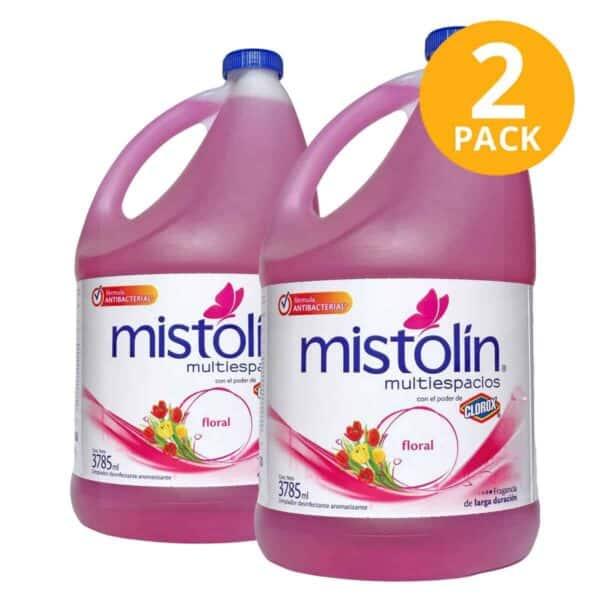Mistolín Multiespacios Floral, Limpiador Desinfectante, 1 Galón (Pack de 2)
