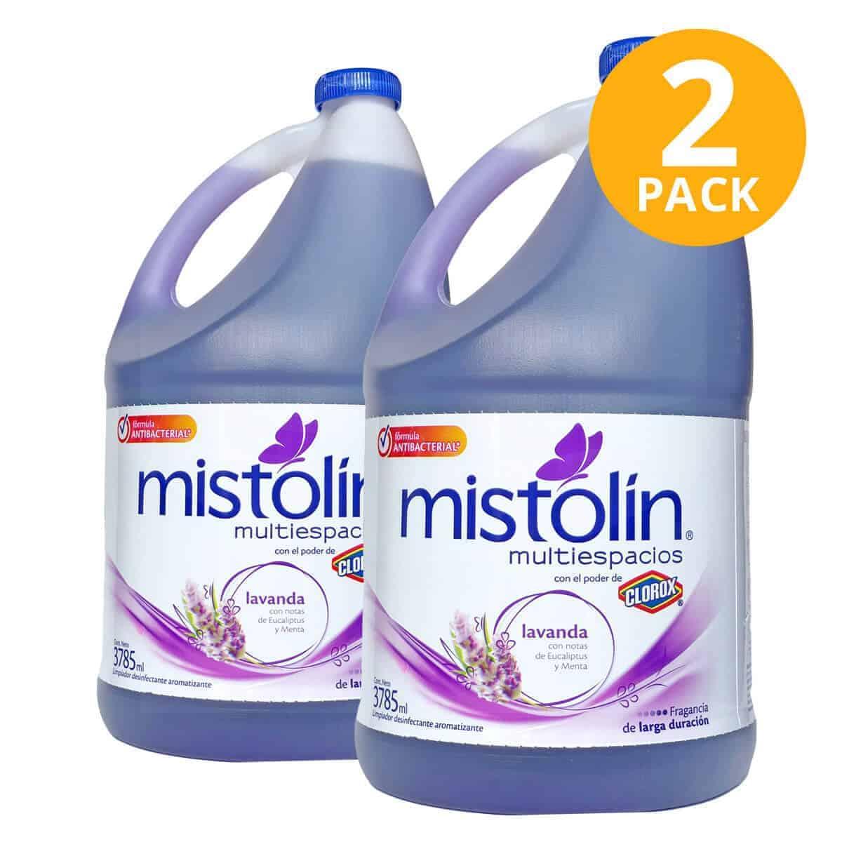 Mistolín Multiespacios Lavanda, Limpiador Desinfectante, 1 Galón (Pack de 2)